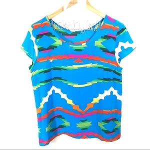 Amanda Uprichard Silk Colorful Southwest Print Top